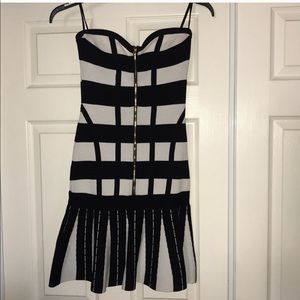 bebe Dresses - Striped black and white Bebe dress